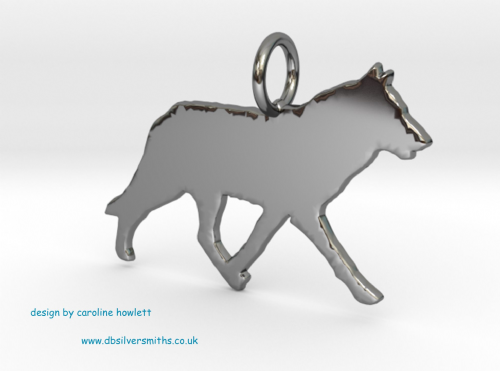 Wolf charm solid sterling silver Handmade in the Uk